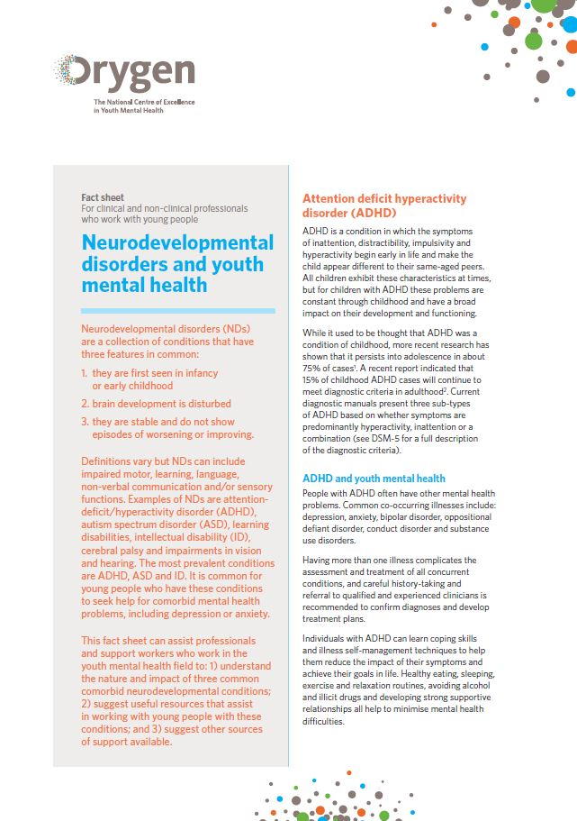 Attention Problems In Early Childhood >> Neurodevelopmental Disorders And Youth Mental Health Orygen The