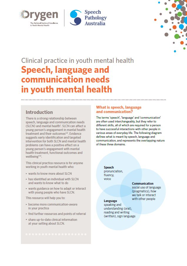 Speech, language and communication needs in youth mental health