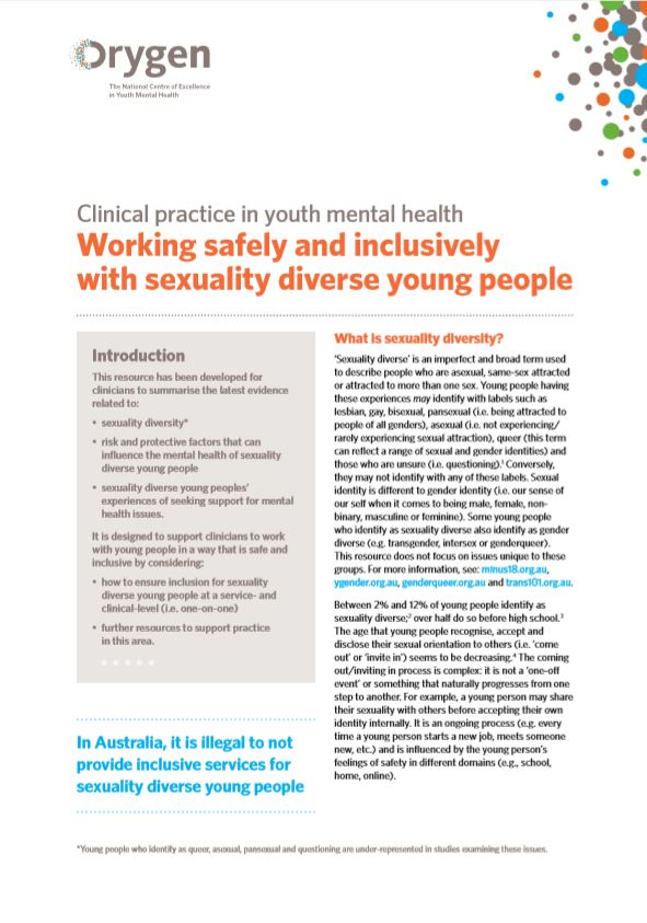 Working safely and inclusively with sexuality diverse young people