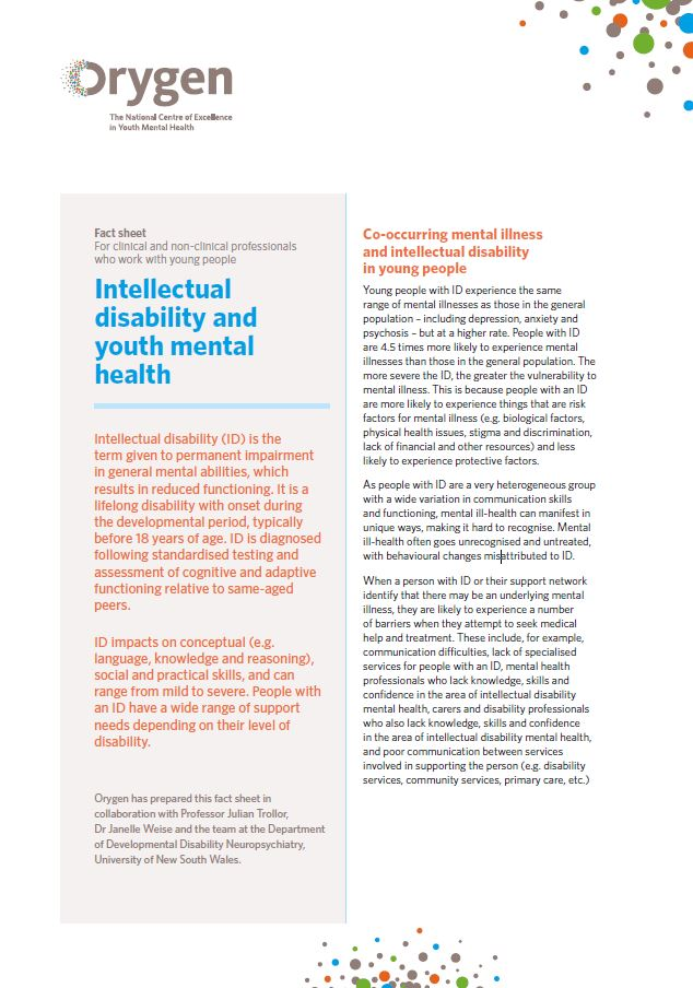 Intellectual disability and youth mental health