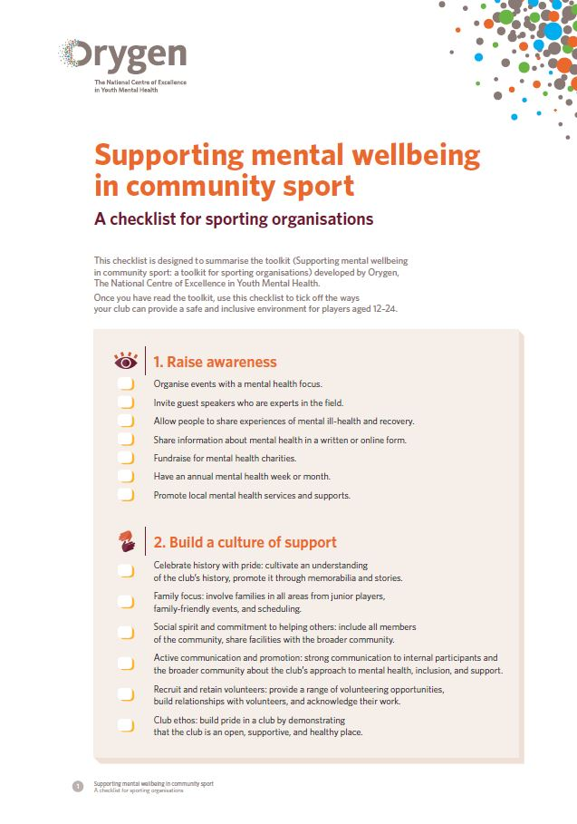 Supporting mental wellbeing in community sport
