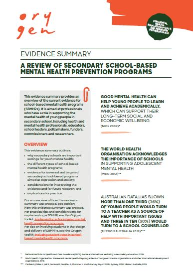 A review of secondary school-based mental health prevention programs