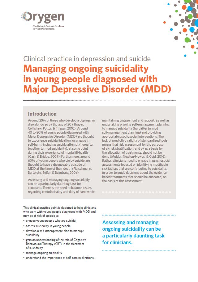 Managing ongoing suicidality in young people diagnosed with Major Depressive Disorder