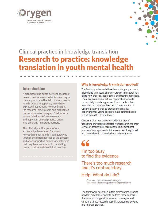 Research to practice: Knowledge translation in youth mental health