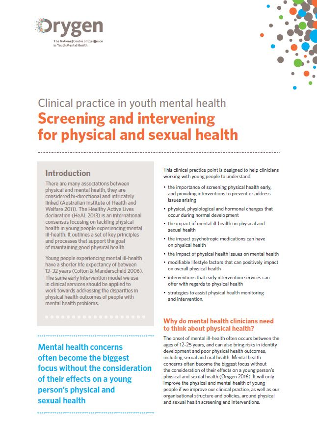 Screening and intervening for physical and sexual health