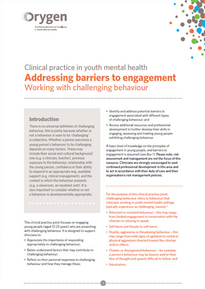Addressing barriers to engagement - Working with challenging behaviour