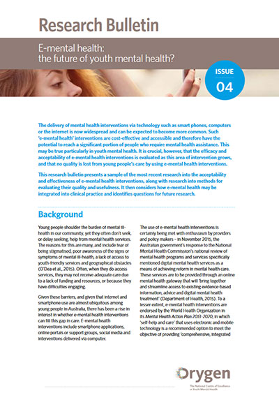 E-mental health: the future of youth mental health? - Orygen, The National  Centre of Excellence in Youth Mental Health