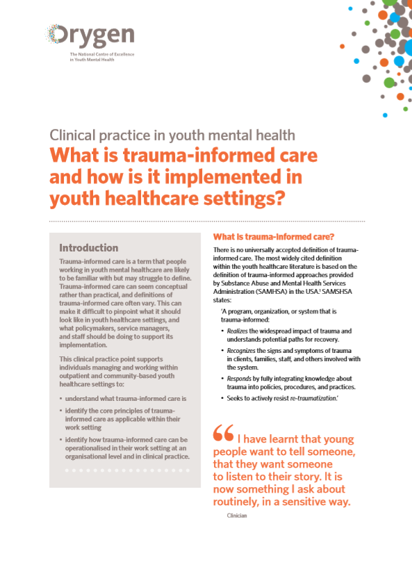 What is trauma-informed care and how is it implemented in youth healthcare settings?