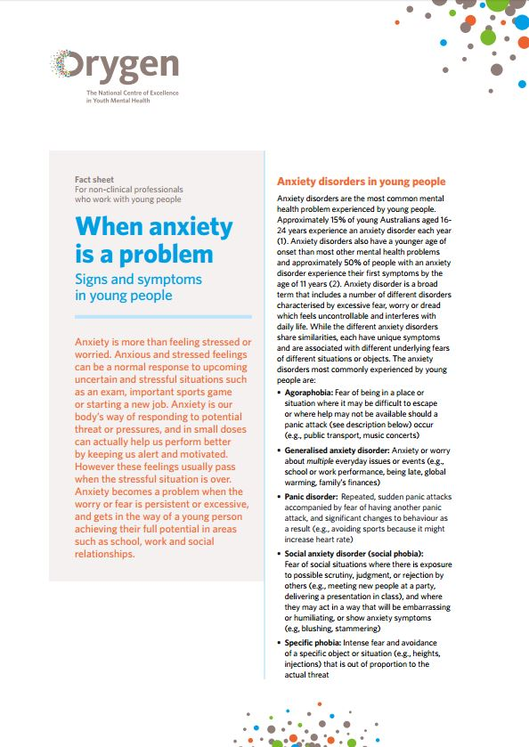 When anxiety is a problem - Signs and symptoms in young people