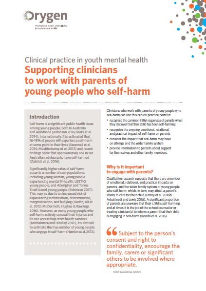 Supporting clinicians to work with parents of young people who self-harm