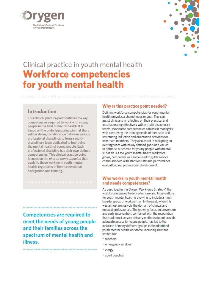 Workforce competencies for youth mental health