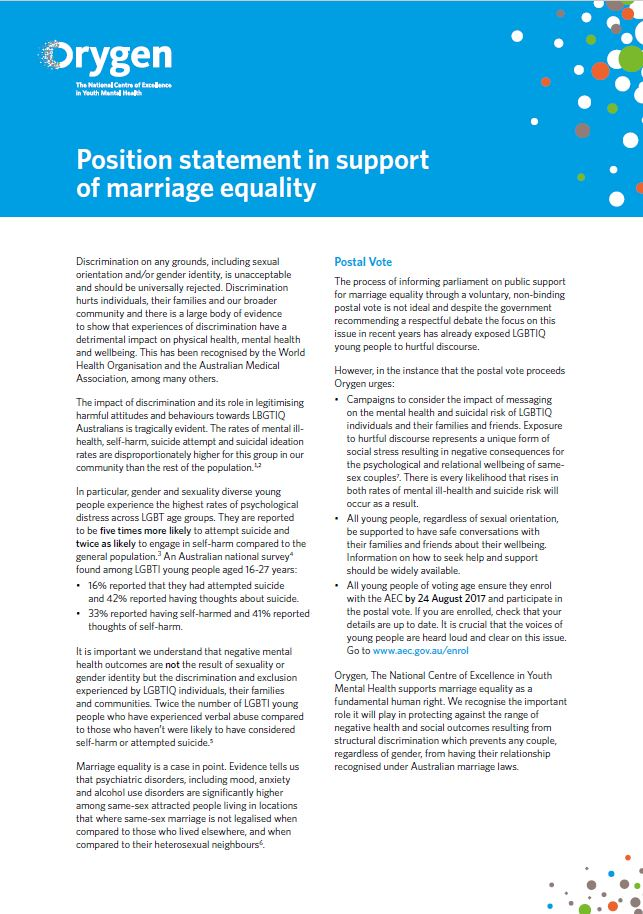 Position Statement in Support of Marriage Equality